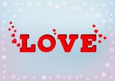 Rote Liebesaufschrift in der Art 3d mit Herzsymbol auf blauem weichem Hintergrund Stockfotos