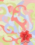 Rote Lilie des Aufklebers auf aufwändigem Hintergrund für Ihr Design Stockbilder