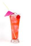 Rote Limonade mit Partystroh auf Weiß Stockfotografie