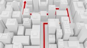 Rote Linie in die Stadt Lizenzfreies Stockfoto