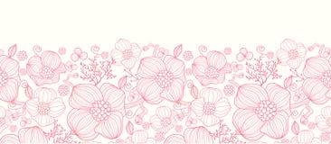 Rote Linie Kunst blüht horizontales nahtloses Muster Lizenzfreies Stockfoto