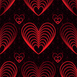 Rote Linie nahtloses Muster der Liebe neun Lizenzfreie Stockfotografie