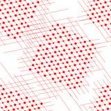 Rote Linien der netten Weinlese und rote Kreise auf weißem Hintergrund lizenzfreies stockfoto