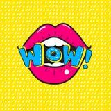 Rote Lippen, die wow sagen Vektor-Pop-Arten-Illustration von Open Mund und VON wow-Mitteilung vektor abbildung