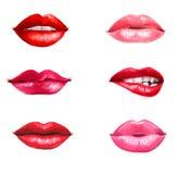 Rote Lippen Lippenhintergrund Lippenstiftanzeige stockfoto