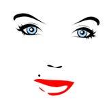 Rote Lippen. Vektorgesicht Lizenzfreie Stockfotos