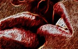 Rote Lippenfractalzusammenfassung lizenzfreie stockbilder