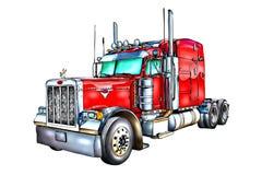 Rote lokalisierte Kunst der LKW-Illustration Farbe Lizenzfreies Stockbild