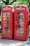 Rote London-Telefonzellen Stockfoto