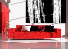 Rote Möbel in einem Innenraum lizenzfreie abbildung