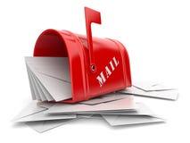 Rote Mailbox mit Haufen der Zeichen. 3D Stockfoto