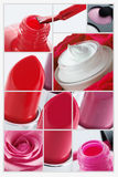 Rote Make-upcollage Stockfotos