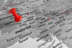 Rote Markierung über Pakistan stockfoto