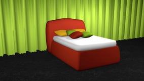 Rote Matratzenfeder mit Kissen stock abbildung