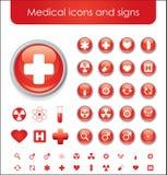 Rote medizinische themenorientierte Ikonen Stockbilder