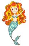 Rote Meerjungfrau lokalisiert auf Weiß Lizenzfreie Stockfotos