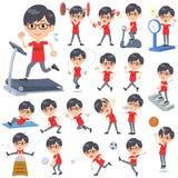 Rote men_Sports u. Übung T-Shirt Glasse vektor abbildung