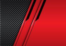 Rote metallische schwarze Linie der Zusammenfassung futuristisch auf modernem Luxushintergrundvektor des grauen Kreismaschenentwu vektor abbildung