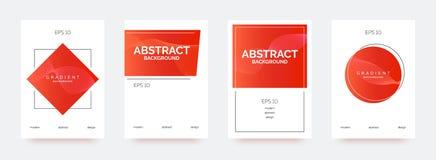 Rote modische Fahnen, Broschüren, Flieger, Hintergründe mit abstrakten Steigungsformen lizenzfreie abbildung