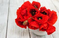 Rote Mohnblumen in einem Vase Lizenzfreie Stockbilder