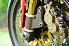Rote Motorradbremsen Ducati 996s Lizenzfreie Stockfotos