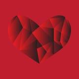 Rote niedrig-Polyherzhintergrund-Liebesleidenschaft vektor abbildung