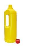 Rote Oberseite der gelben Flasche Stockbilder