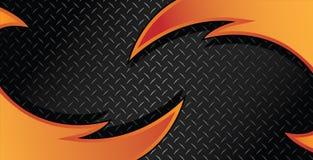 Rote orange Feuer-Rasiermesser-Diamond Plate Textured Vector Background-Illustration stockfotos