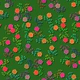 Rote orange purpurrote Rosen der Karikatur auf Grün vektor abbildung