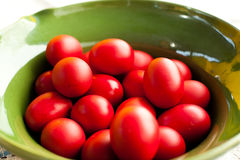 Rote Ostereier Stockfoto