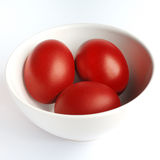 Rote Ostereier Stockbild