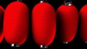 Rote Papierlaterne auf schwarzem Hintergrund lizenzfreie abbildung
