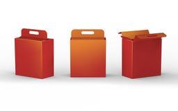 Rote Papppapierkastenverpackung mit Griff, Beschneidungspfad herein Lizenzfreies Stockfoto
