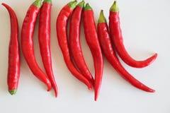 Rote Paprikas getrennt auf weißem Hintergrund Selektiver Fokus Unscharfer Hintergrund freier Platz für Text Stockfoto