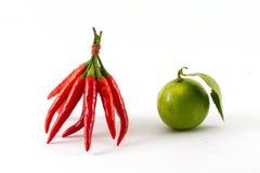 Rote Paprikas und grüne Zitrone stockfotos