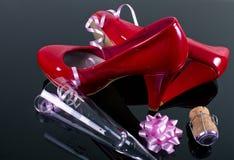 Rote Partei-Schuhe Lizenzfreie Stockfotografie