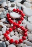 Rote Perlen auf Kieseln Lizenzfreie Stockbilder