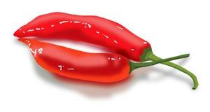 Rote Pfeffer als Lippen Lizenzfreies Stockbild