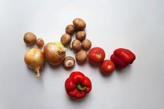 Rote Pfeffer, Tomaten, Zwiebeln und braune Champignons stockfotografie