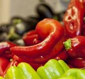 Rote Pfeffer und grüne Peepers Getrennt Lizenzfreie Stockfotos