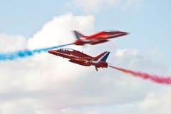 Rote Pfeil-Flugzeug-Anzeige Team Fairford Air Show RAF Airport Lizenzfreie Stockfotografie