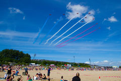 Rote Pfeile bei Wales nationales Airshow 2017 Stockbild