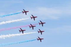 Rote Pfeile bei Wales nationales Airshow 2017 Lizenzfreies Stockfoto