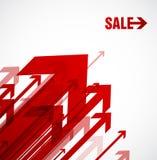 Rote Pfeile mit Verkauf. Lizenzfreies Stockfoto