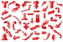 Rote Pfeile Satz glänzende Ikonen 3d lokalisiert auf weißem Hintergrund Lizenzfreies Stockbild