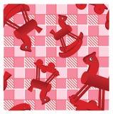 Rote Pferde auf überprüftem rosafarbenem Hintergrund Stockbilder