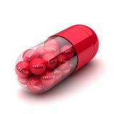 Rote Pille füllte mit Text, Meldung von gesundem Lizenzfreie Stockbilder