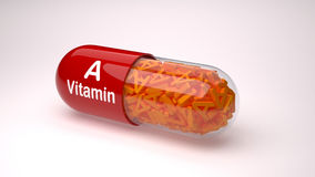 Rote Pille oder Kapsel gefüllt mit Vitamin A stock abbildung