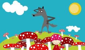 Rote Pilze, Mädchen und Wolf Stockbild