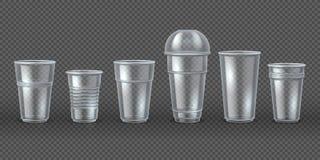 Rote Plastikcup f?r kleine Kuchen auf Wei? Lokalisiertes Modell des Beseitigungskaffee-Getränks Becher, realistisches 3D, das für lizenzfreie abbildung